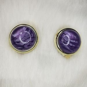 Jewelry - Vintage 80s Purple Clip-On Earrings